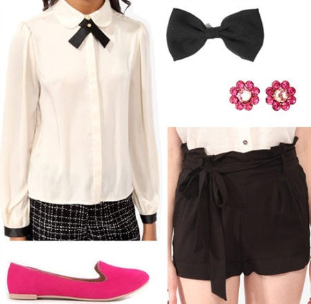 Fashion inspired by Eloise at the Plaza: Bow neck blouse, high-waisted shorts, hot pink loafers, hair bow