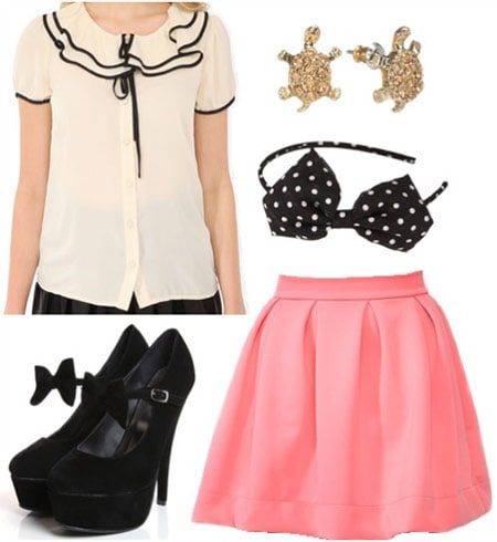 Fashion inspired by Eloise at the Plaza: Beige chiffon shirt, mary jane heels, pink skirt, bow headband