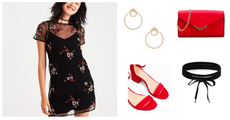 How to style an embroidered dress for a night out: Black and red embroidered dress, red single strap heels, black wrap choker, red chain strap bag, gold hoop earrings