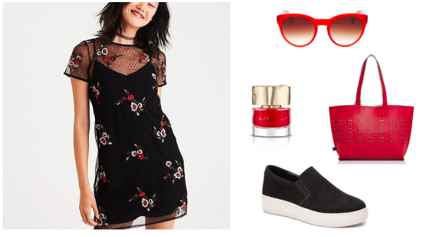 How to style an embroidered dress for class: Outfit with black floral embroidered dress, red tote bag, red nail polish, black platform sneakers