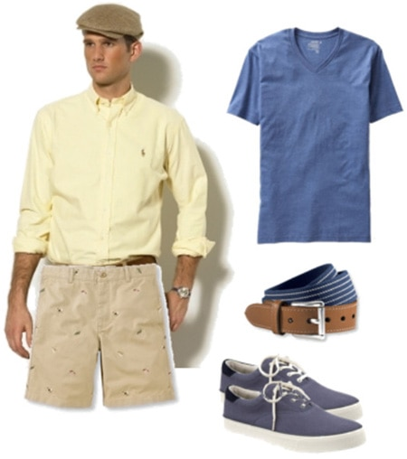 Mens outfit including embroidered shorts and sneakers