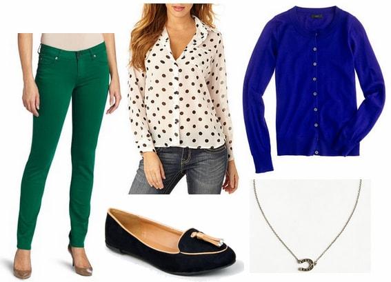 Emerald jeans, cobalt cardigan, polka dot blouse