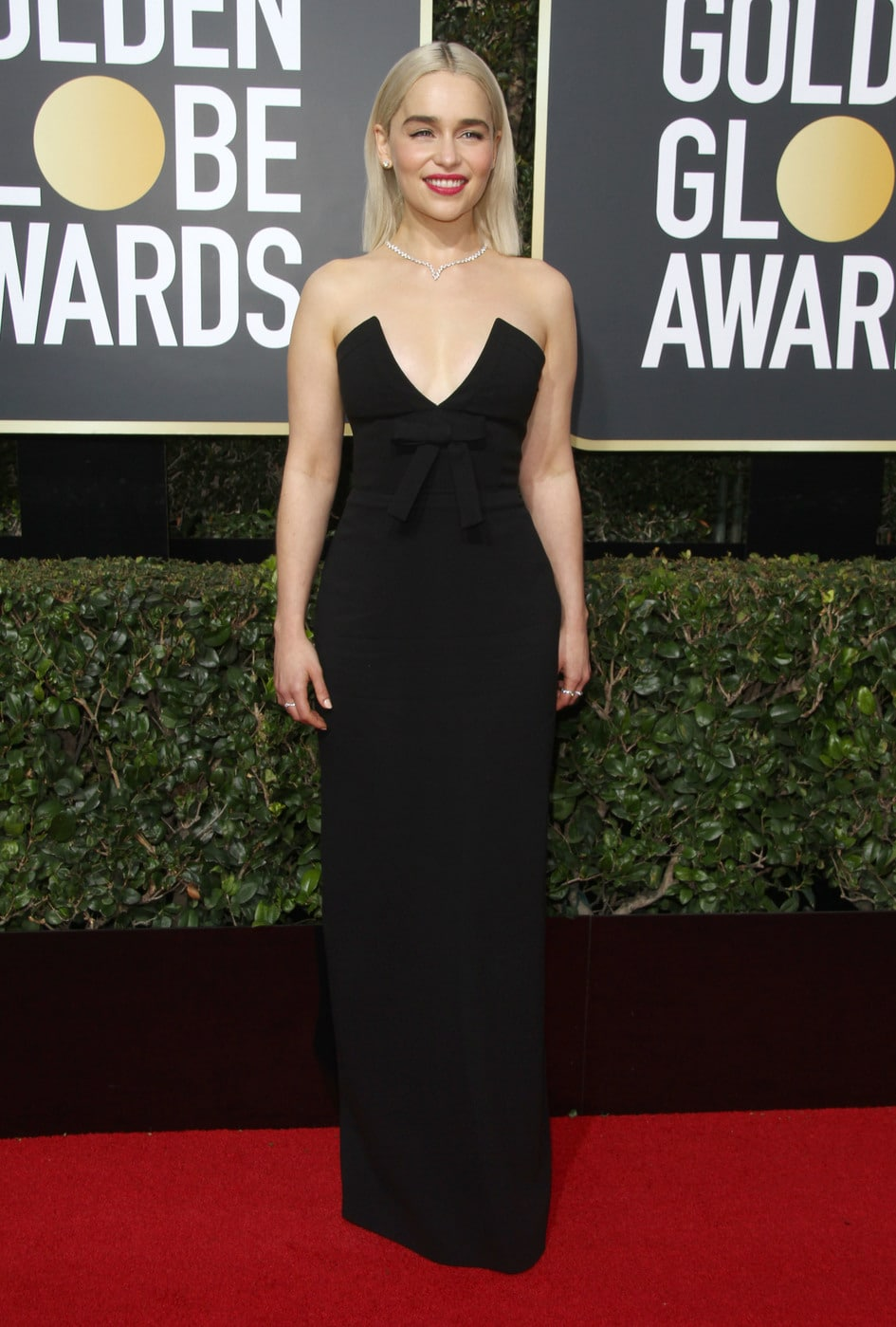 Emilia Clarke in a black Miu Miu gown at the 2018 Golden Globe awards