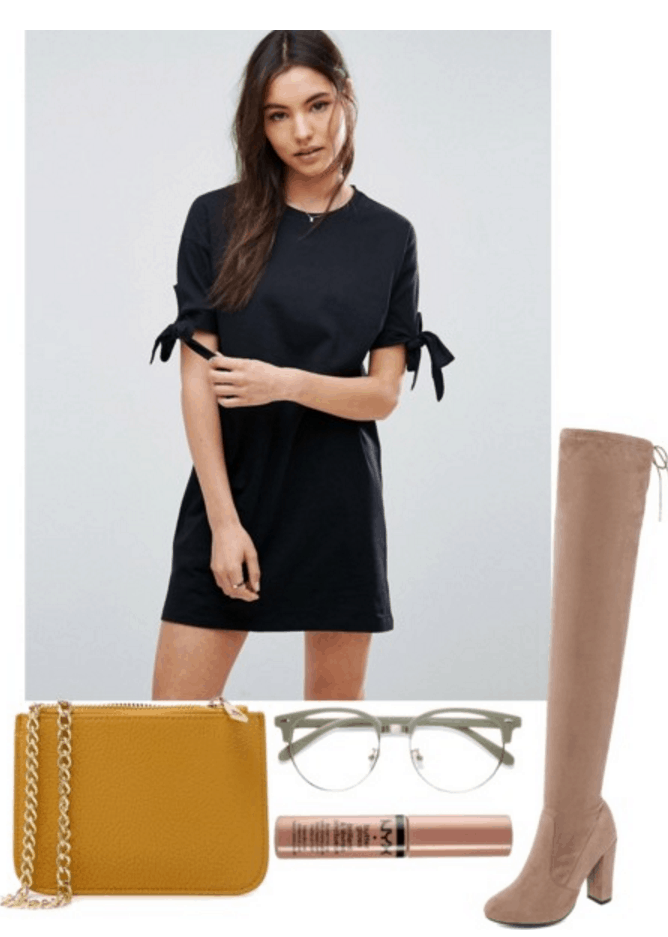Black dress, mustard bag, boots and glasses