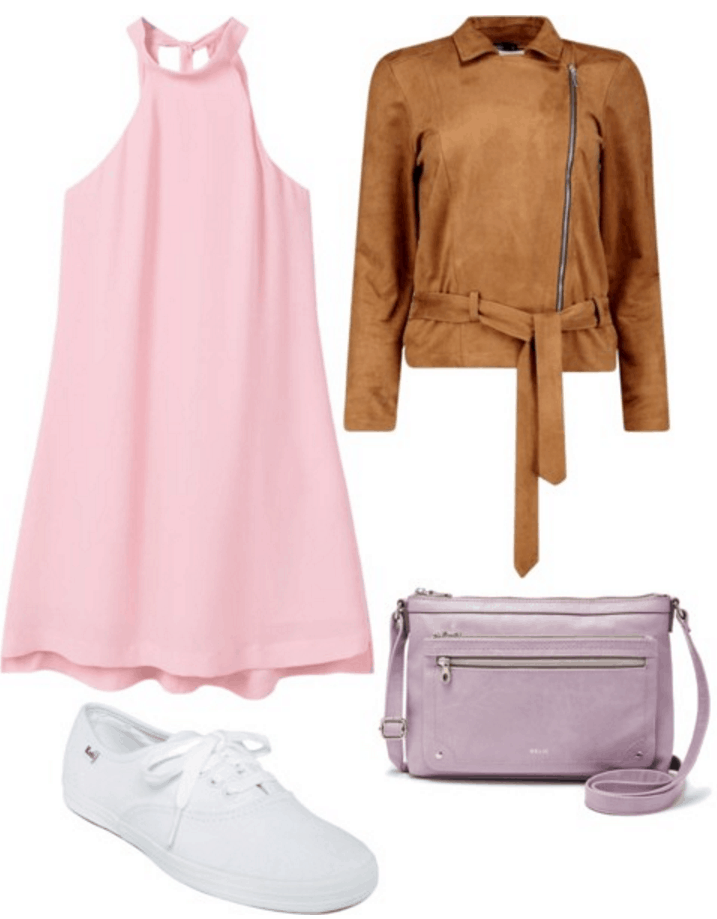 Pink dress, suede jacket, lilac bag, white sneakers.
