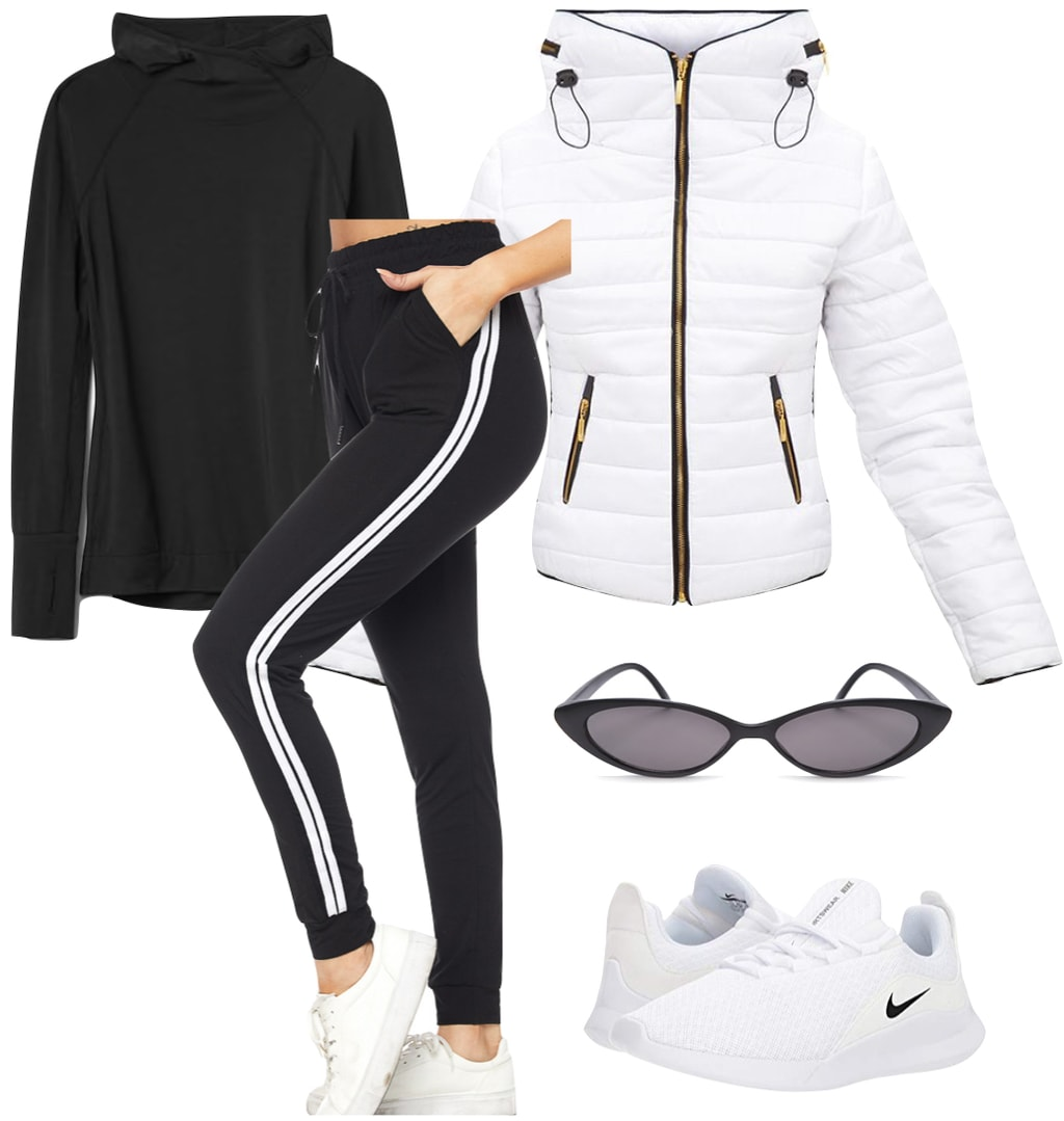 Emily Ratajkowski Outfit: black and white side stripe joggers, white puffer jacket, black hoodie, black slim cat-eye sunglasses, and white running sneakers