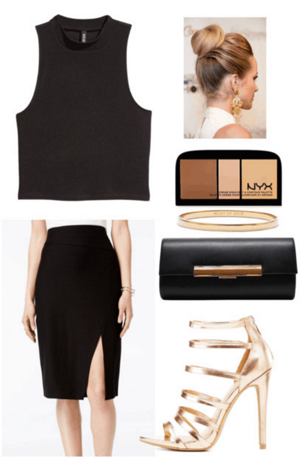 Black crop top, skirt, heels.