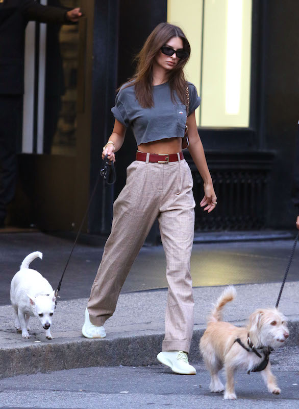Emily Ratajkowski wearing a cropped gray t-shirt, plaid wide leg pants, a red belt with a gold buckle, black rectangular sunglasses, and off-white sneakers