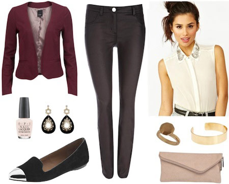 Outfit inspired by Emily from Revenge - coated jeans, burgundy blazer, loafer flats, collared blouse