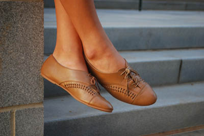 Emily - Tan Oxfords.