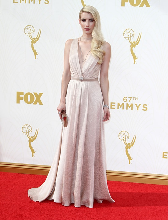 Emma Roberts in Jenny Packham at the 2015 Emmy Awards