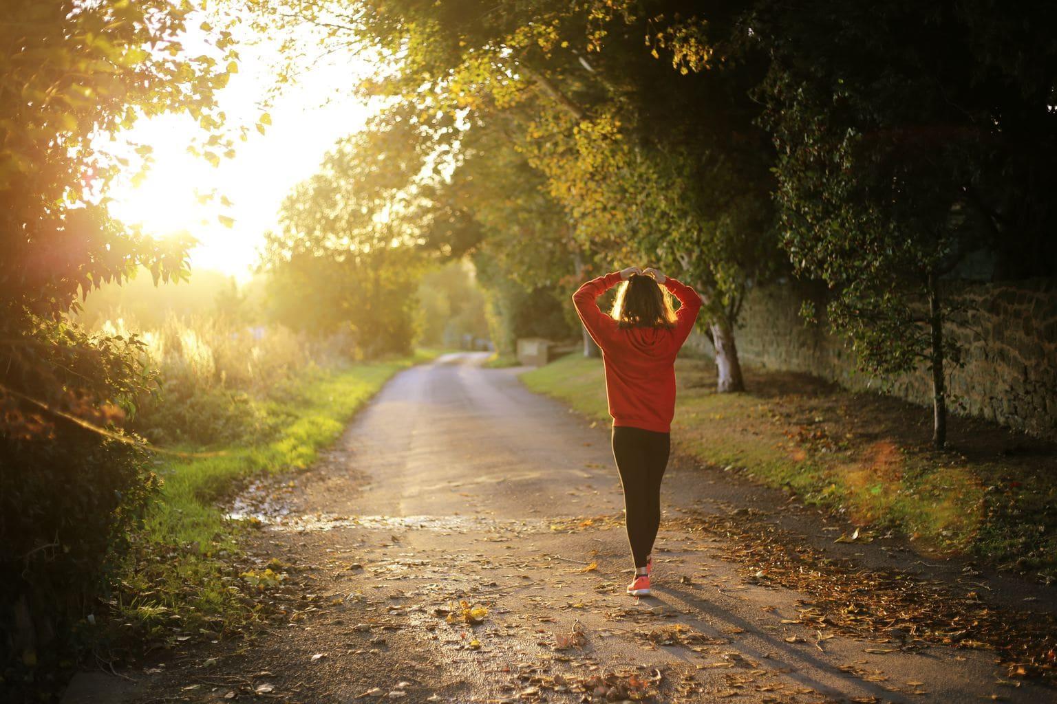 walk, nature, workout, active, woman