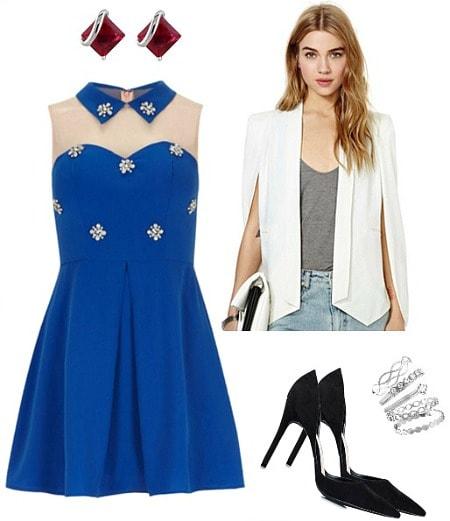 Emma Stone embellished dress outfit