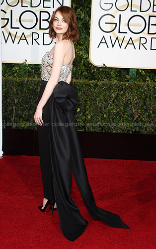 Emma Stone Golden Globes 2015 in Lanvin jumpsuit