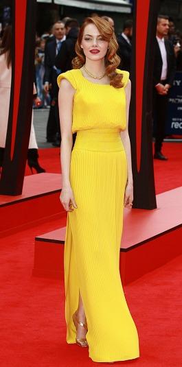 Emma Stone in a yellow Atelier Versace dress
