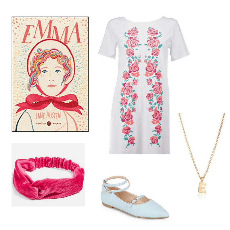 An outfit for the book Emma, featuring an embroidered dress, pink velvet headband, blue flats, and initial necklace.