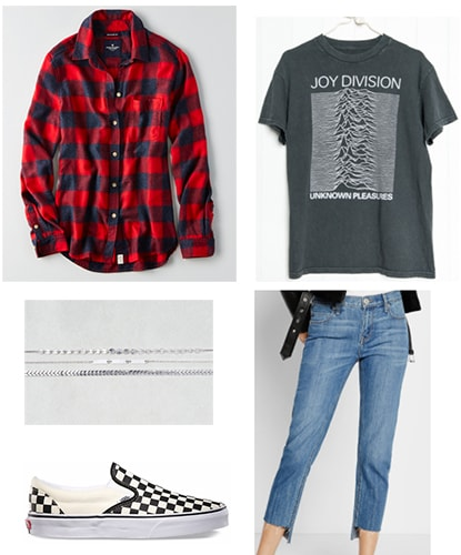 Grungy emo outfit idea: Joy Division tee, mom jeans, old school checkered black and white Vans, red and black plaid shirt