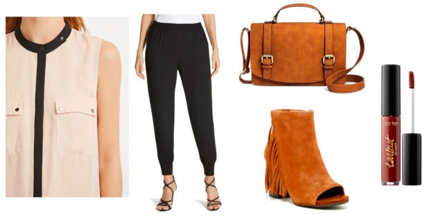 Outfit inspired by Emporio Armani Spring 2016 - beige blouse, loose pants, satchel, peep toe booties