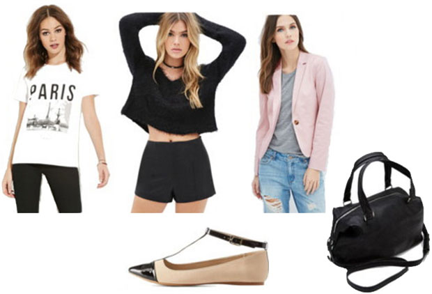 Emporio Armani outfit: Pink jacket, tee shirt, leather shorts, pointed toe flats