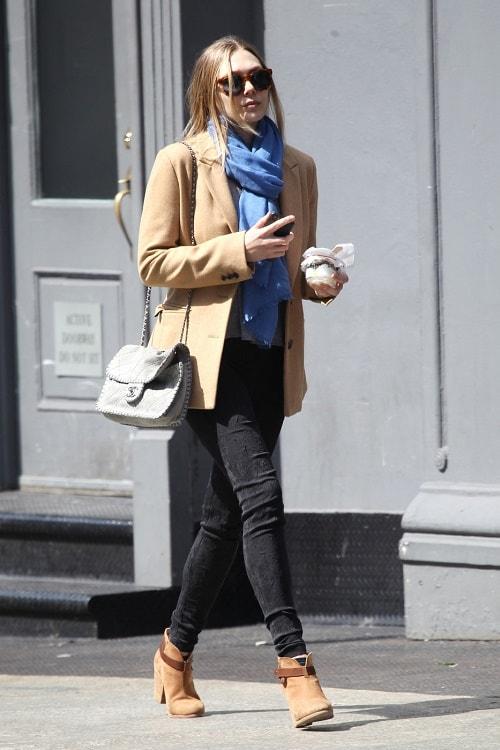 Elizabeth Olsen blazer, skinny jeans, and scarf