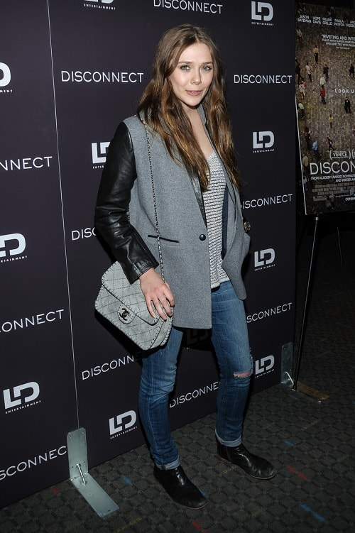 Elizabeth Olsen mixed material jacket and jeans
