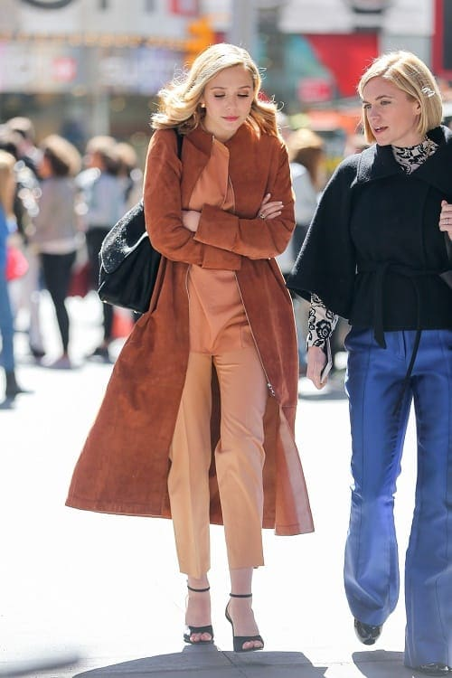 Elizabeth Olsen orange suede coat