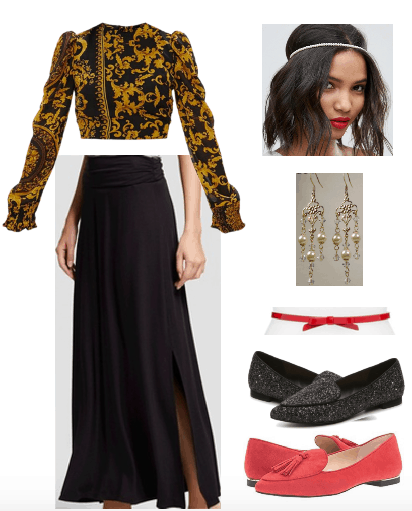 Outfit inspired by Erdem's Spring 2018 Ready-to-Wear collection; focused on baroque printed top.