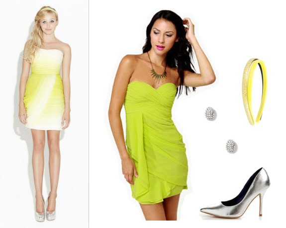 Erin Fetherston outfit 2: Lime green strapless dress