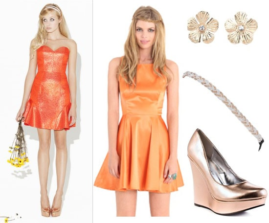 Erin Fetherston outfit 3: Orange dress