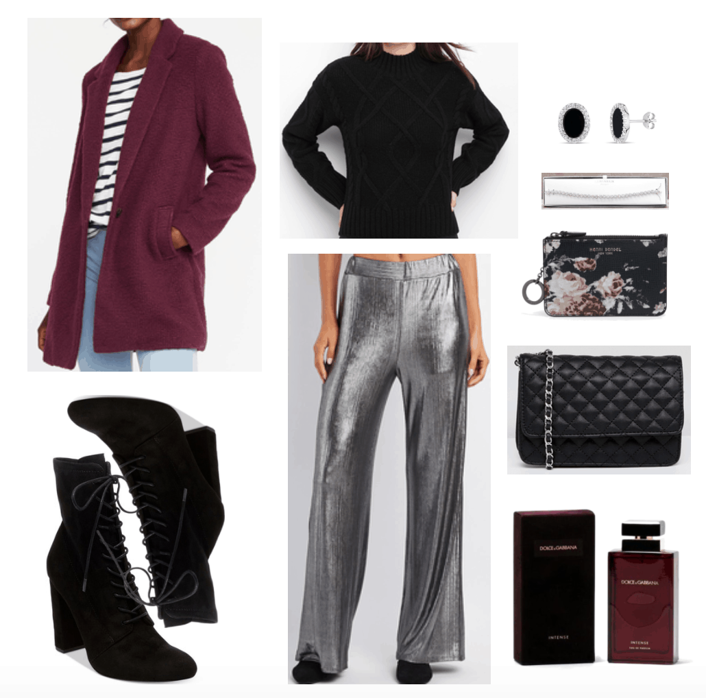 Outfit including silver palazzo pants and maroon coat.