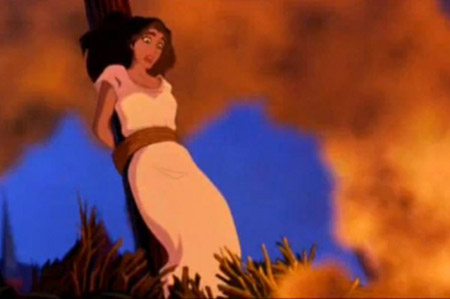 Esmerelda in the Hunchback of Notre Dame almost being burned at the stake