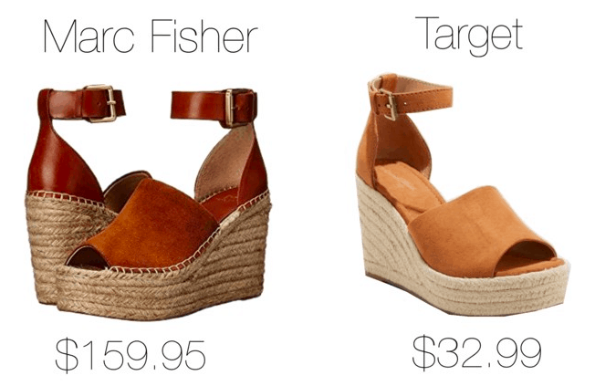 Photo of two espadrille wedges, one from Marc Fisher the other from Target.