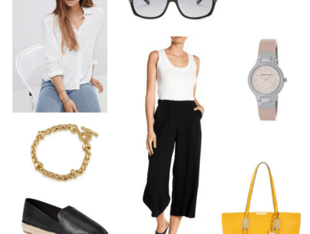 Summer work outfit with white button-down, black culottes, espadrille loafers, sunglasses, watch, bracelet, and yellow tote