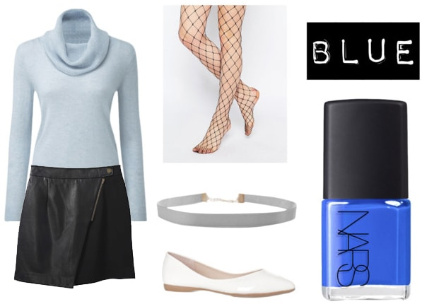 Outfit to wear with blue nail polish: Light blue turtleneck sweater, faux leather wrap skirt, gray choker, white ballet flats