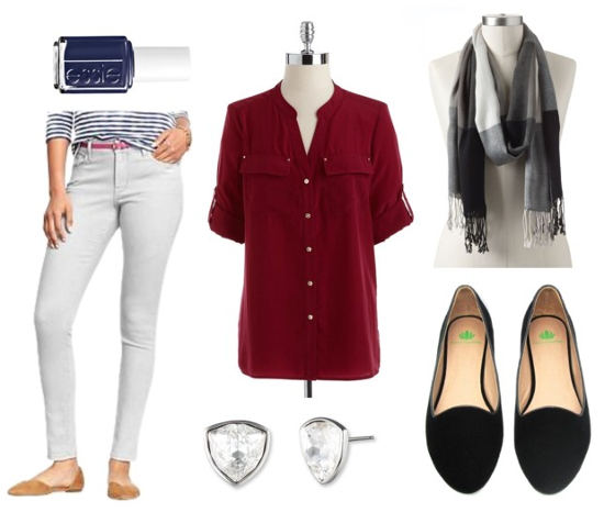 Essie fall 2014 red blouse gray jeans