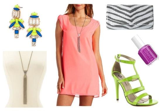 Essie neon coral dress