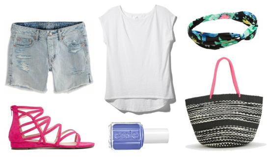Essie neon white tee shorts