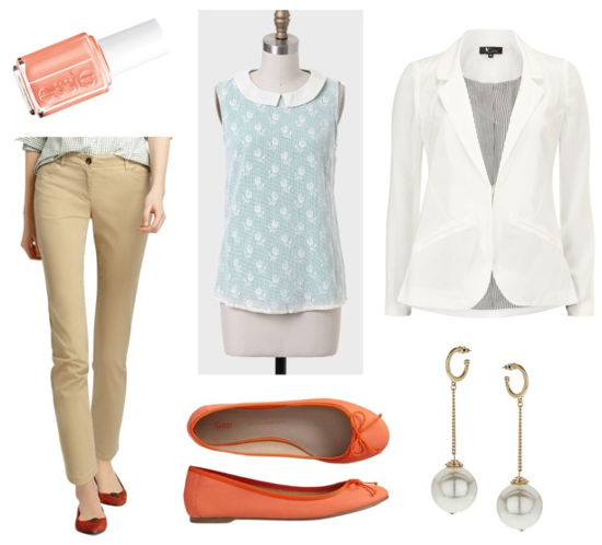 Essie resort khakis white blazer