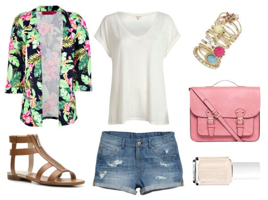 Essie summer floral blazer denim shorts