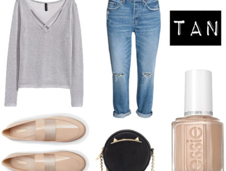 Essie tan nail polish outfit: Gray sweater, boyfriend jeans, beige and gray loafers, black cat bag