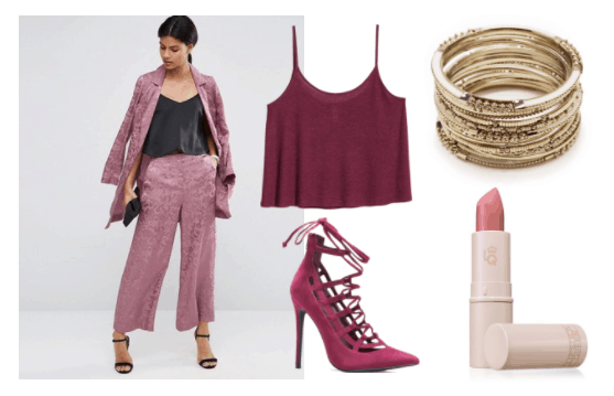 Pretty summer outfit idea inspired by Esther from Ni No Kuni: Wrath of the White Witch: Purple culottes, dark purple cropped cami, purple lace-up heels, pink nude lipstick