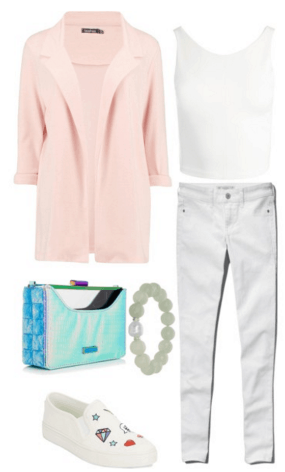 Pink blazer, all white outfit, holographic bag.
