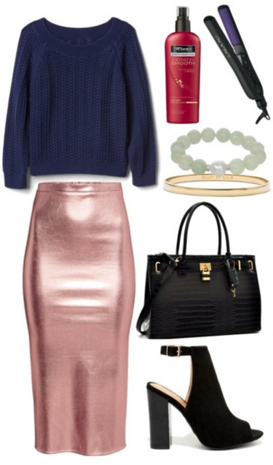 Outfit inspired by editor and Instagram staffer Eva Chen: Blue cable knit sweater, metallic pink skirt, black bag, jade bracelet