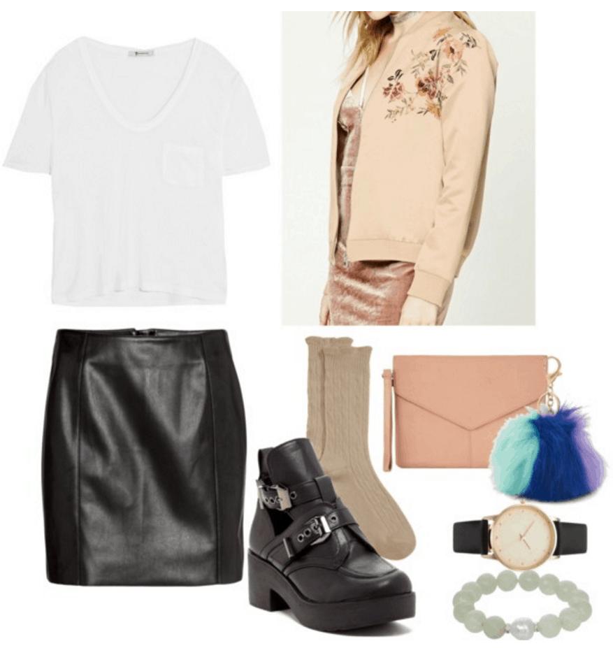 White tee, leather skirt, neutral jacket.