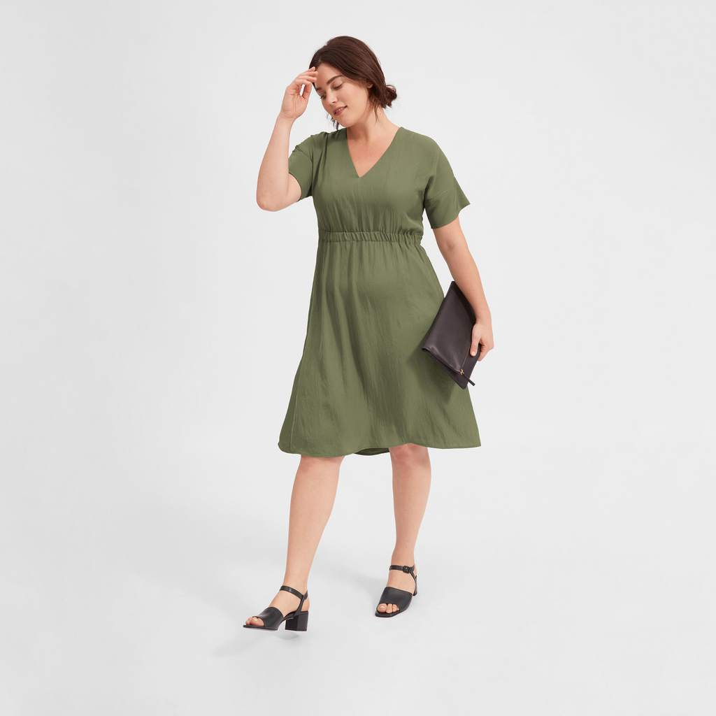 Olive green short-sleeved v-neck dress with elasticized waist