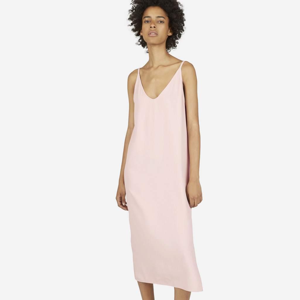Pale pink midi slip dress