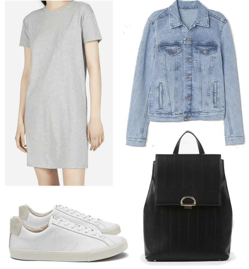 everlane tee dress outfit