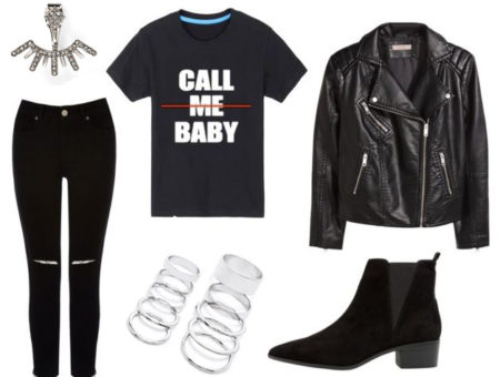 EXO outfit 2 - Call me baby shirt, ripped jeans, leather jacket, booties, jewelry