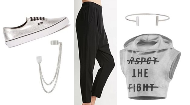 EXO outfit 3 - Harem pants, cropped top, vans, cute jewelry