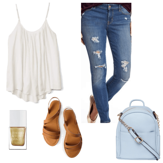 white tank top distressed jeans brown sandals cross body bag gold nail polish